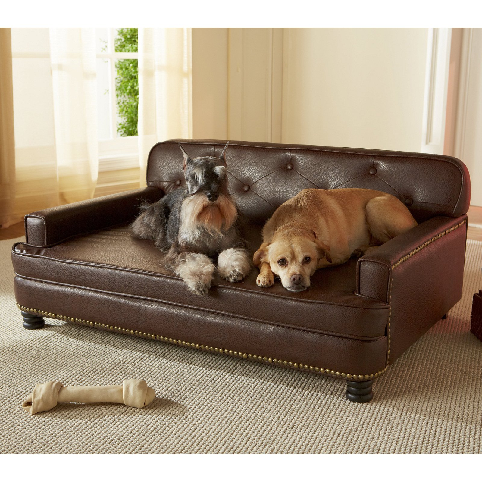 Brown Dog Bed Faux Indoor Leather Raised Pet Sofa Couch Upholstered Cushion Cat