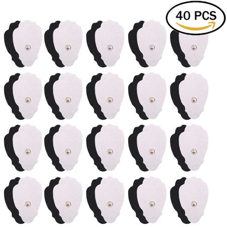 40 PCS Snap Electrodes Pads - 1.8 x 3 Inches TENS Unit Pads Replacement for EMS Massager Muscle Stimulator, Premium Self-adhesive and Reusable, FDA Approved ()