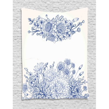 Blue Tapestry, Artistic Floral Bouquet Corsage Carnations Chamomiles Bridal Wedding Anniversary Theme, Wall Hanging for Bedroom Living Room Dorm Decor, Blue White, by Ambesonne ()