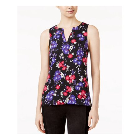 KENSIE Womens Purple Floral Sleeveless V Neck Wear To Work Top  Size: L Sleeveless Womens Top