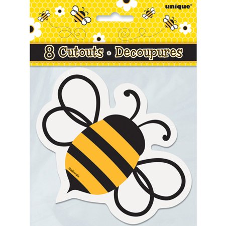 Mini Bumble Bee Cut Out Decorations 8pk