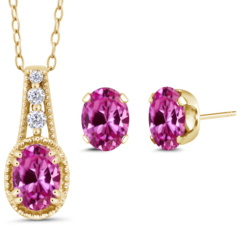 2.28 Ct Oval Pink Created Sapphire 14K Yellow Gold Pendant Earrings Set by