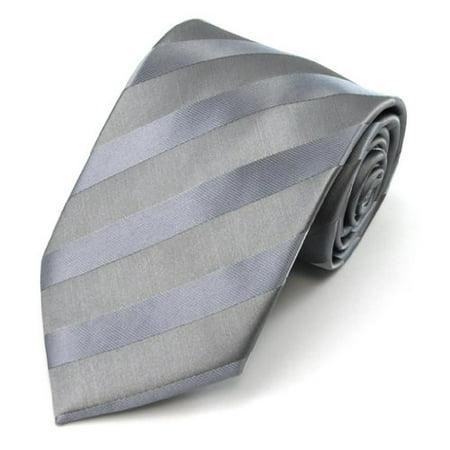 Boys Gray Solid Color Tonal Stripe Prep (Gray Boys Tie)