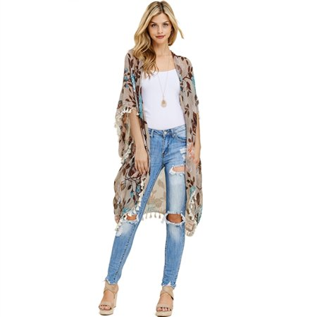 Floral Tassel Kimono Cardigan