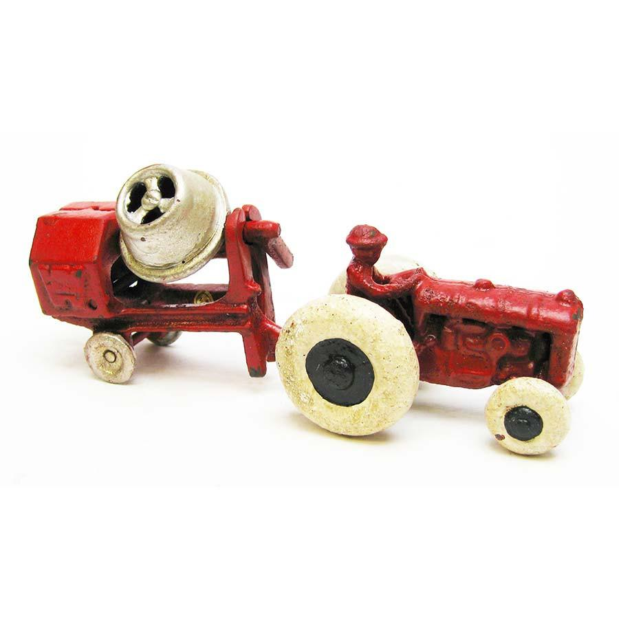 Vintage Tractor with Cement Mixer Replica Cast Iron Collectible Farm Toy by