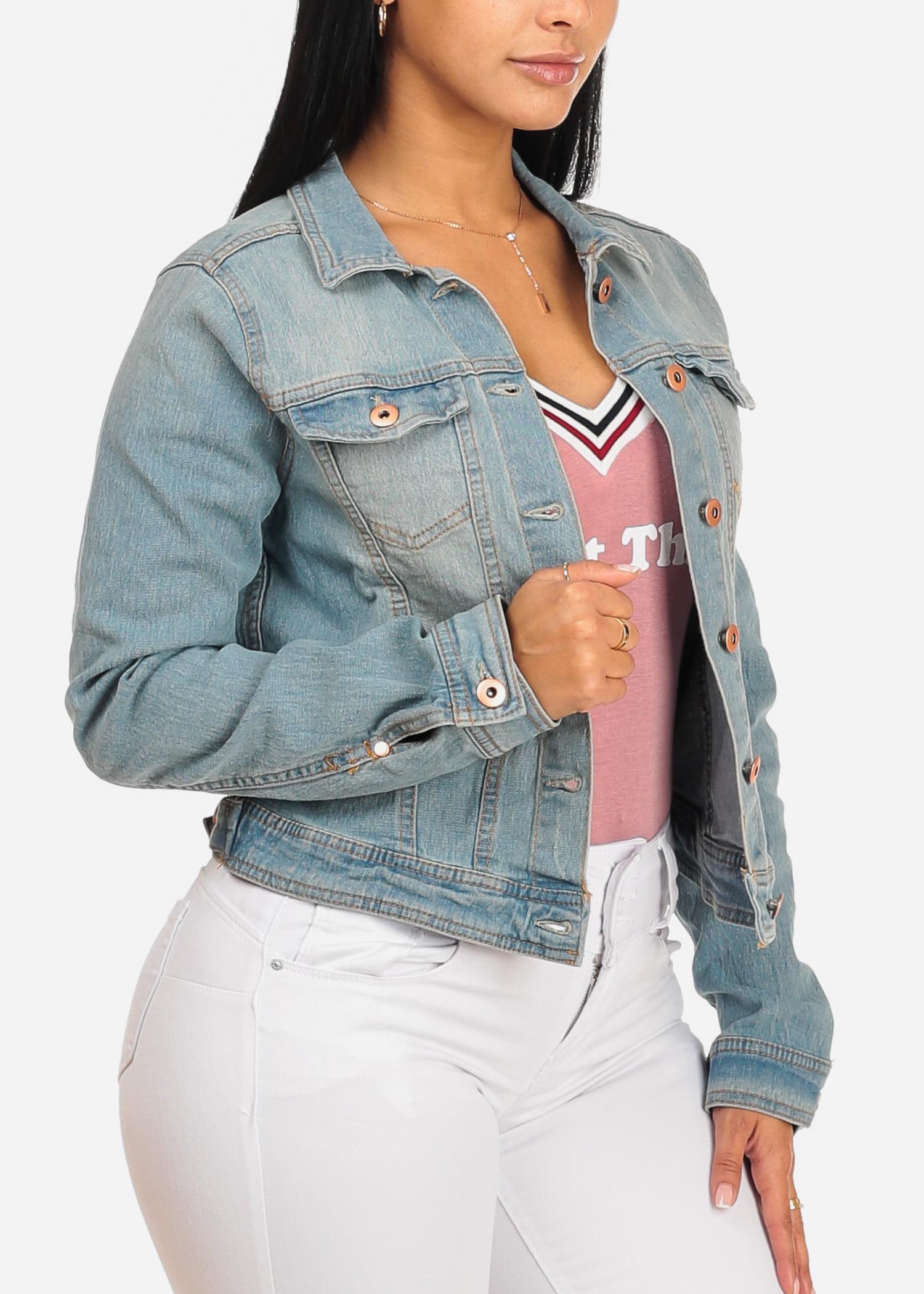 Womens Juniors Stylish Long Sleeve Button Up Light Wash Denim Jacket W 2 Top Pockets 41315P