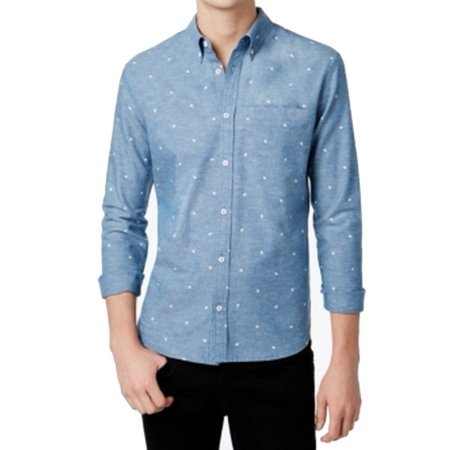 New Large Bird (WHT Space NEW Blue Mens Large L Bird Print Chambray Button Down Shirt )