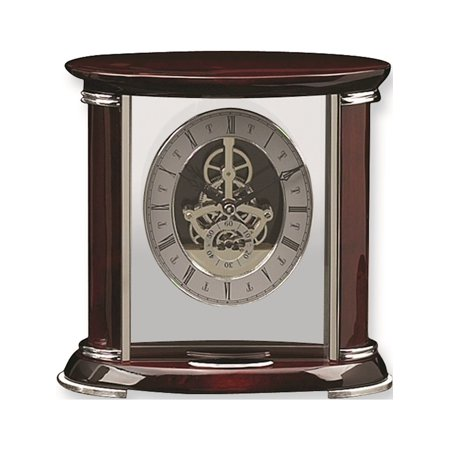 Rosewood And Chrome Trim Mantel Clock Designer Jewelry by Sweet Pea ()