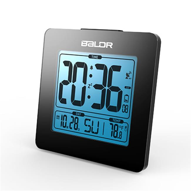 Baldr CL0114BL1 Atomic Alarm Clock with Time Calendar Function, Black