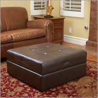 Brandon Brown Leather Storage Ottoman