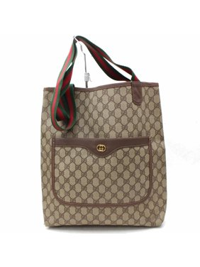 ea4aed8e242b Product Image Monogram Large Web Shopping 867528 Brown Coated Canvas Tote.  Gucci