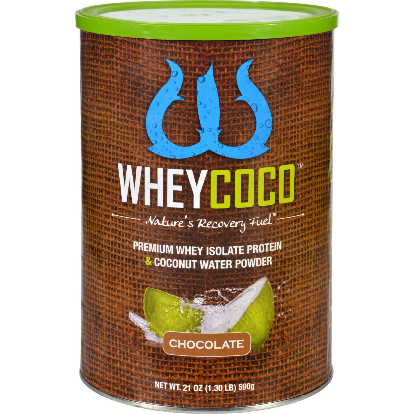 WheyCoco Whey Isolate Protein and Coconut Water - Premium - Powder - Chocolate - 21 oz