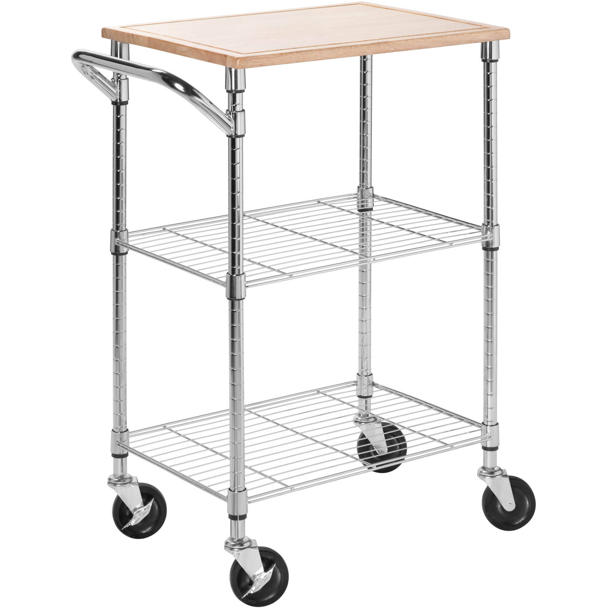 Honey Can Do Urban 2 Tier Rolling Cart With Rubberwood Top, Chrome/Natural    Walmart.com