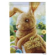 "I'm Back Easter House Flag Bunny Rabbit Humor Large Yard Banner 28"" x 40"""