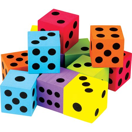 12 Dice - 12 PACK FOAM COLORFUL LARGE DICE