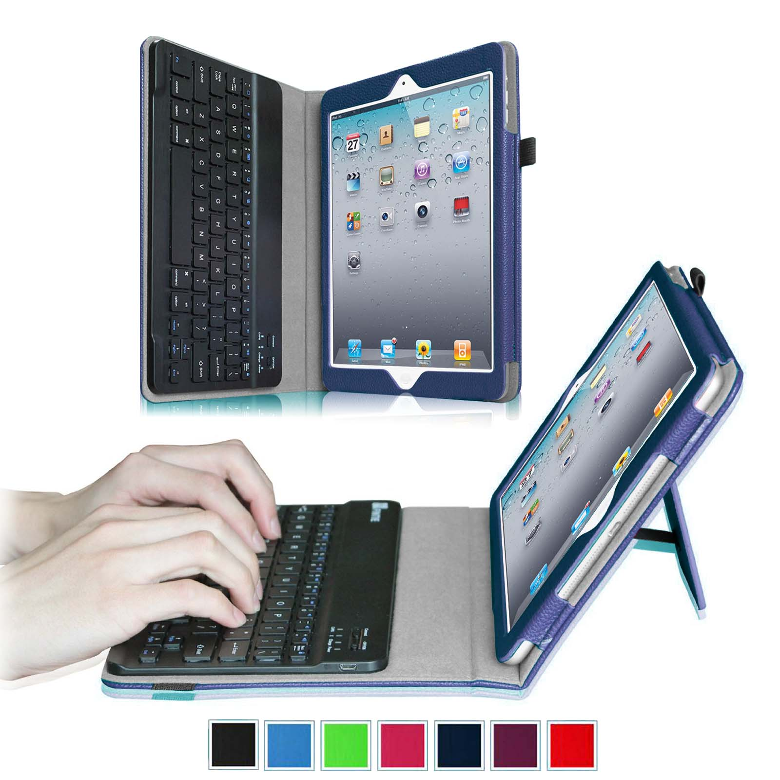 Apple iPad 4, iPad 3 & iPad 2 Keyboard Case - Fintie Ultra Thin Folio Case With Removable Bluetooth Keyboard, Navy