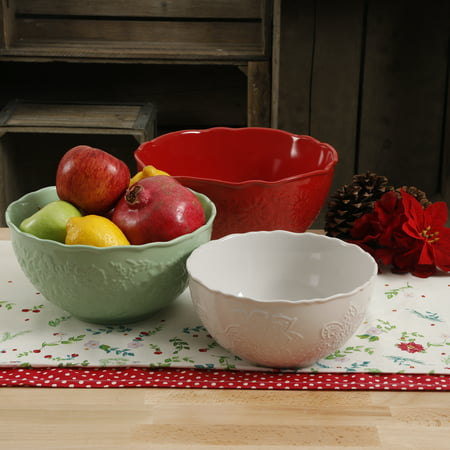 The Pioneer Woman Ceramic Holiday Serving Bowl Set, 3 Piece