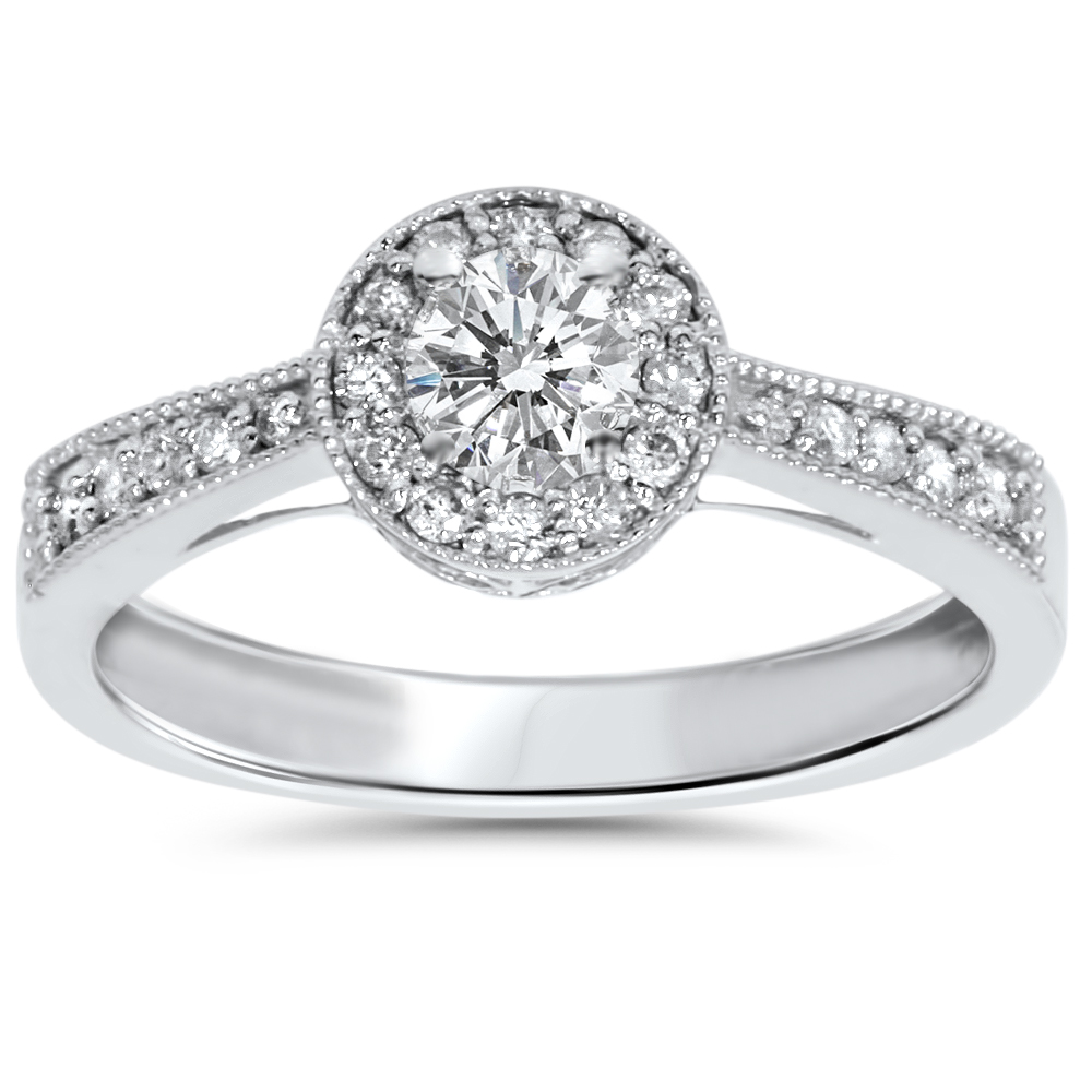 1/2ct Vintage Diamond Halo Engagement Solitaire Ring 10K White Gold
