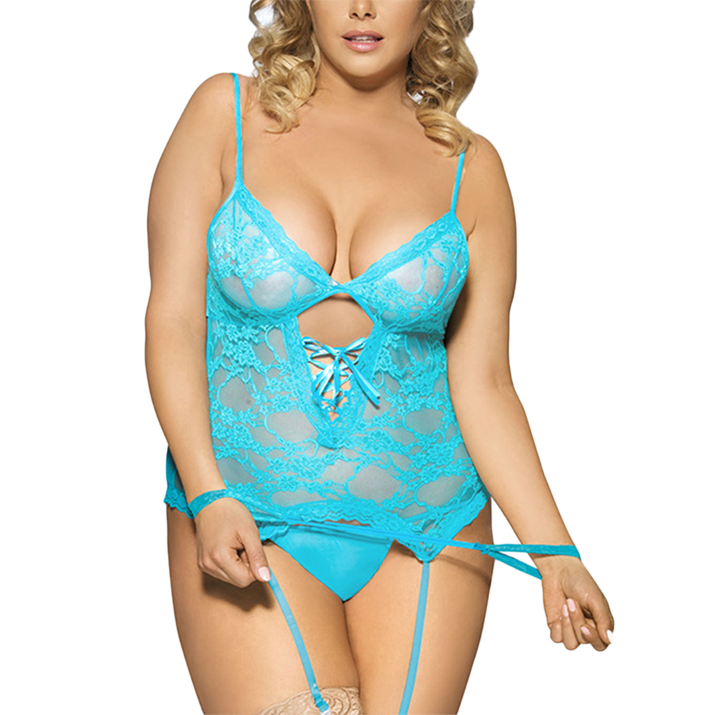 Women's Plus Size Lace Mesh Chemise & G-String with Garters Sexy Lingerie Set