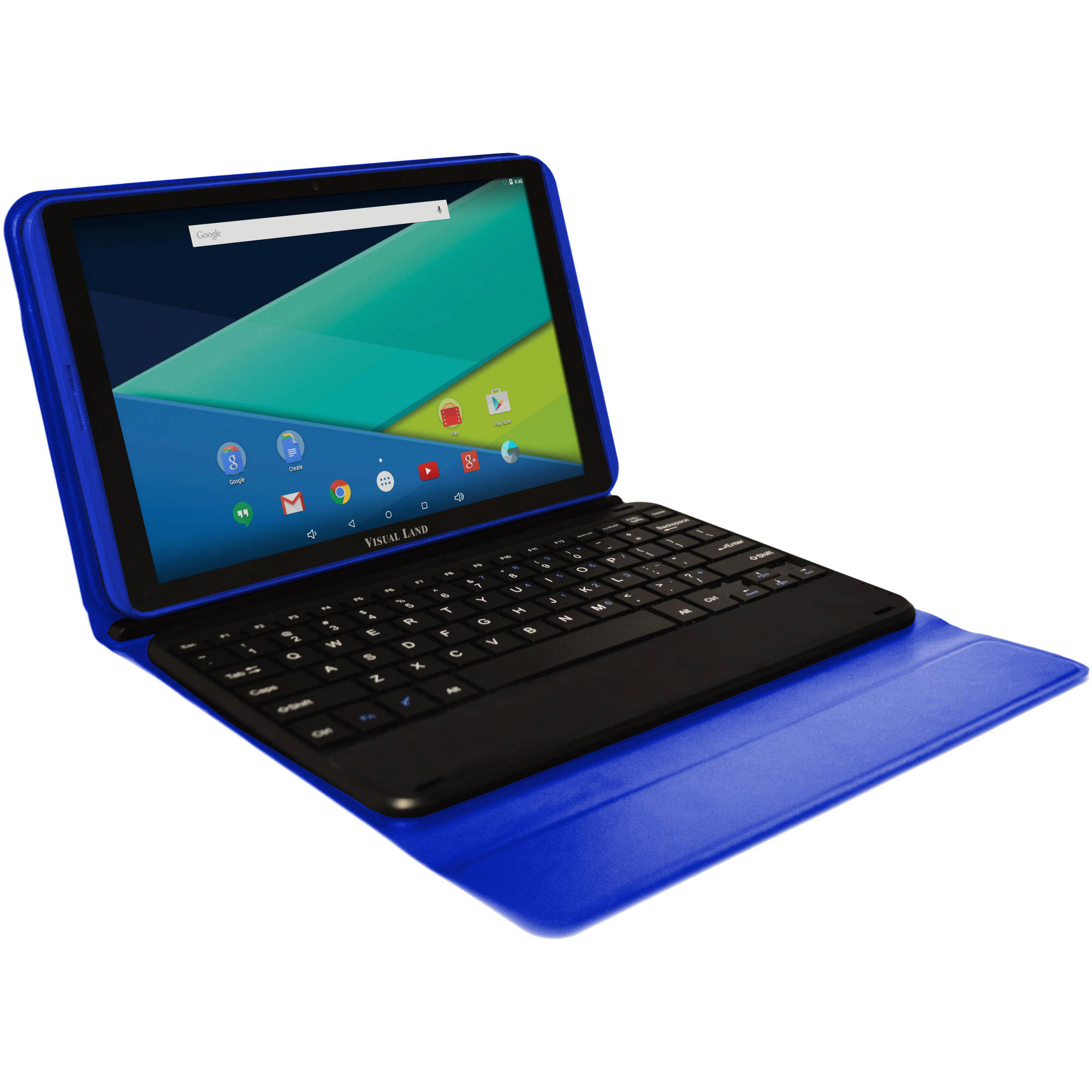 "Visual Land 10.1"" IPS Intel Quad Core 2-in-1 Tablet 16GB includes Docking Keyboard Case - Blue"