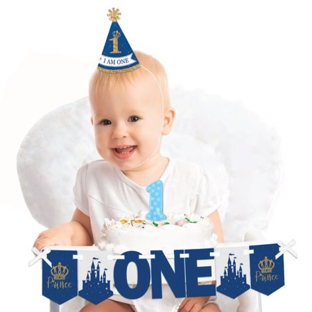 Royal Prince Charming 1st Birthday - First Birthday Boy Smash Cake Decorating Kit - High Chair - 1st Birthday Boy Decorations