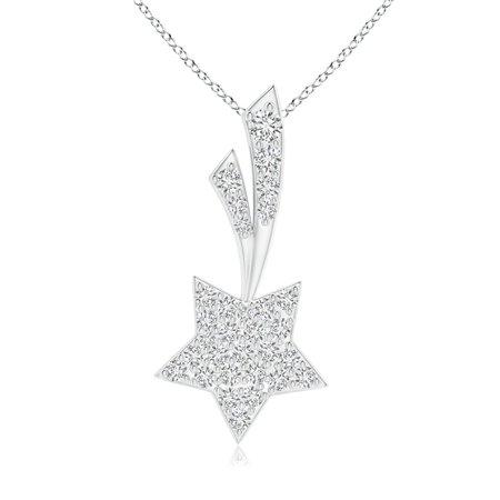Star Cluster Pendant (Valentine Jewelry gift - Cluster Diamond Shooting Star Pendant in 14K White Gold (1.7mm Diamond) - SP1197D-WG-HSI2-1.7)