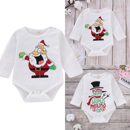Newborn Baby Christmas Clothes Boy Long Sleeve Snowman Santa Claus Romper Bodysuit Jumpsuit Xmas Outfit