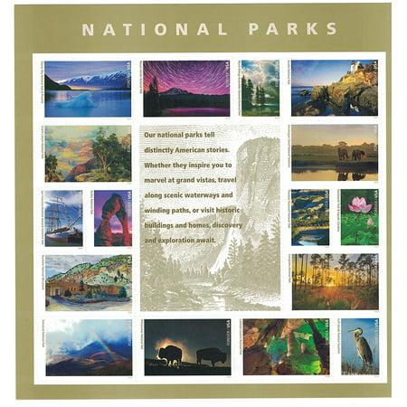 National Parks Forever Sheet of 16 USPS Forever Postage Stamps landscapes historic sites memorials battlefields