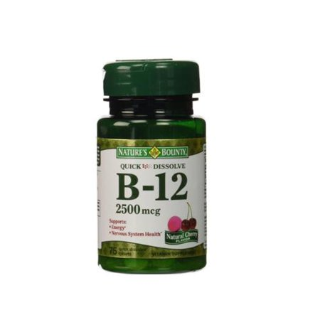 Nature's Bounty La vitamine B12 sublinguale 2500 mcg comprimés, Cerisier naturel 75 ch (Lot de 4)