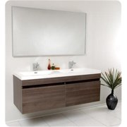 Fresca FVN8040GO Largo Gray Oak Modern Bathroom Vanity with Wavy Double Sinks