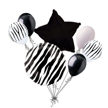 Black And White Striped Balloons (7 pc Black Zebra Print Balloon Bouquet Happy Birthday Baby Shower Animal)