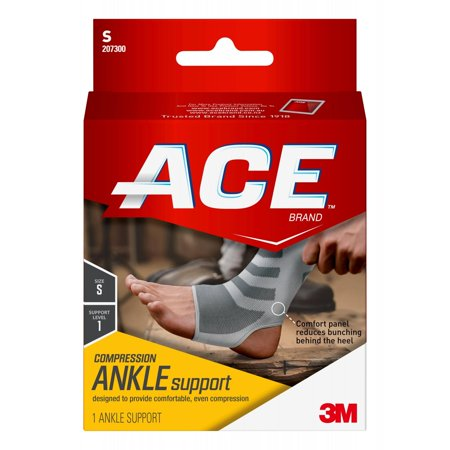ACE Brand Compression Ankle Support, Small, White/Gray, 1/Pack Ace Bandage Ankle Support
