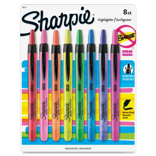 Sharpie Accent Retractable Highlighter - Chisel Marker Point Style - Assorted Ink - Assorted Barrel - 8 / Set (SAN28101)