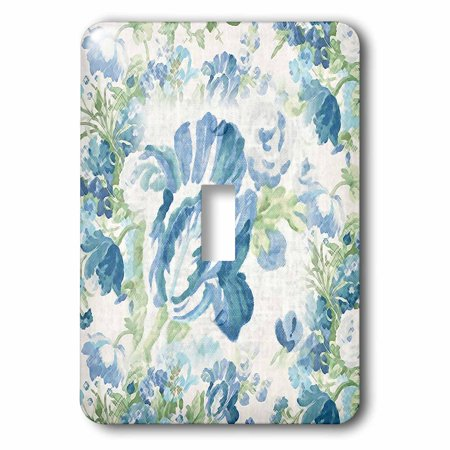 Victorian Supply Outlet - 3dRose Print of Victorian Flowers In Blue and Green, 2 Plug Outlet Cover