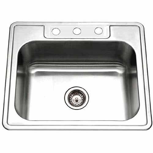 Top Mount Stainless Steel Kitchen Sinks houzer 2522-9bs4-1 glowtone series topmount stainless steel single