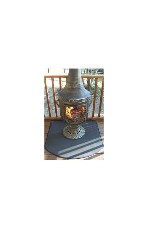 Fire Resistant Chiminea Outdoor Fireplace Pad Half Round by The Blue Rooster