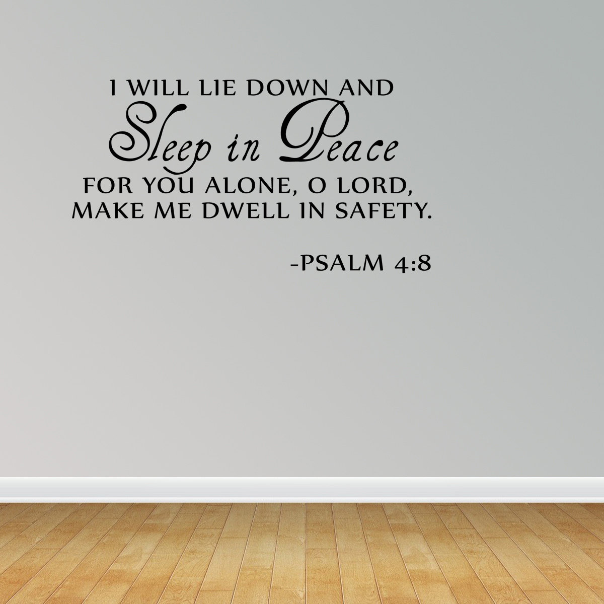 Sleep In Peace Psalm 48 Bible Verse Lettering Wall Decal Quote