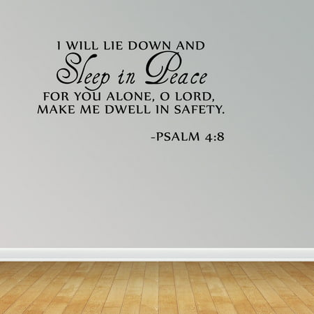 Sleep In Peace Psalm 4:8 Bible Verse Lettering Wall Decal Quote Inspire ()
