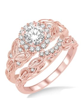 Antique 1.50 Carat Round Moissanite Engagement Ring set on 10k Rose Gold