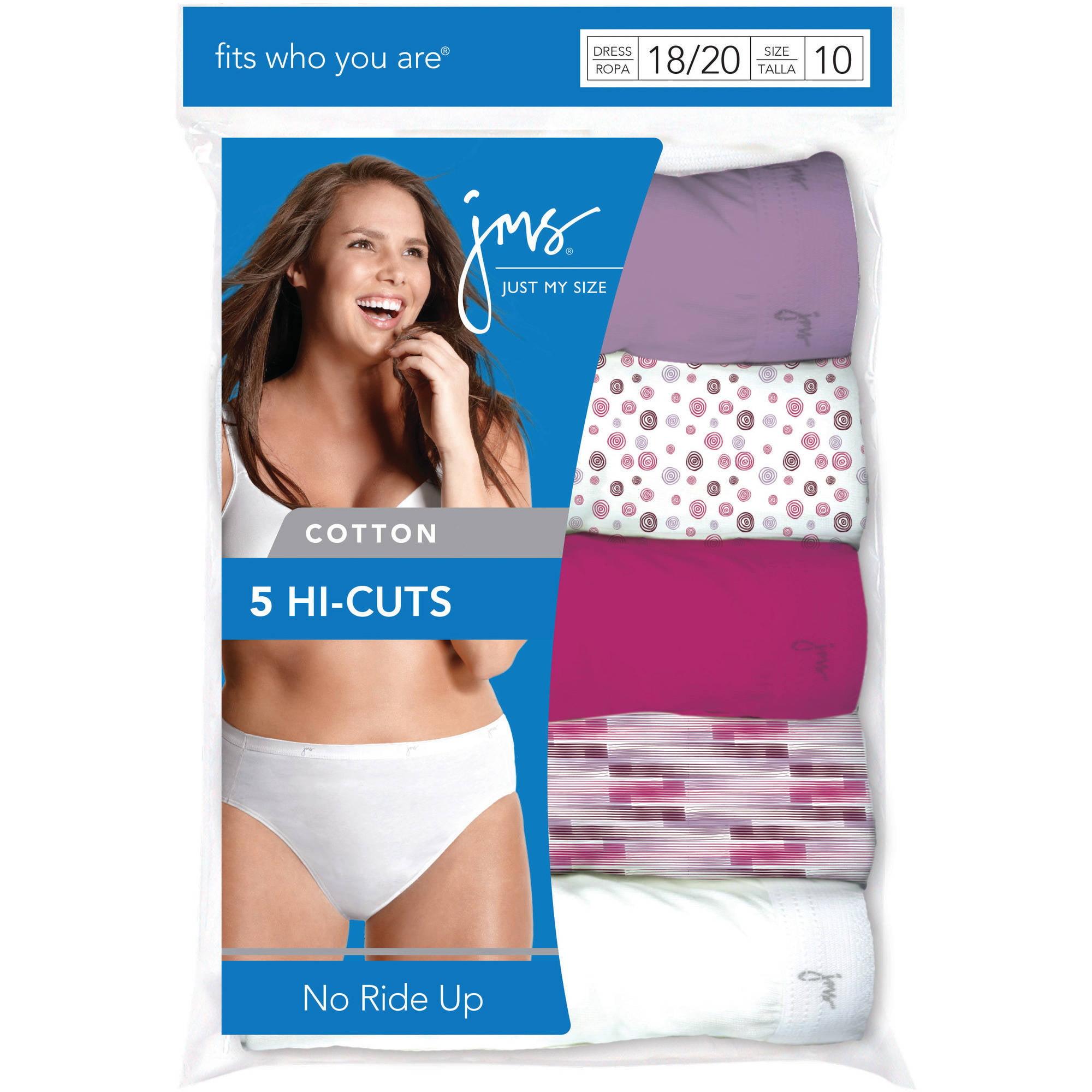 a6406dad2a Just My Size - Women s Cotton Tagless Hi-Cut Panties 5-Pack - Walmart.com