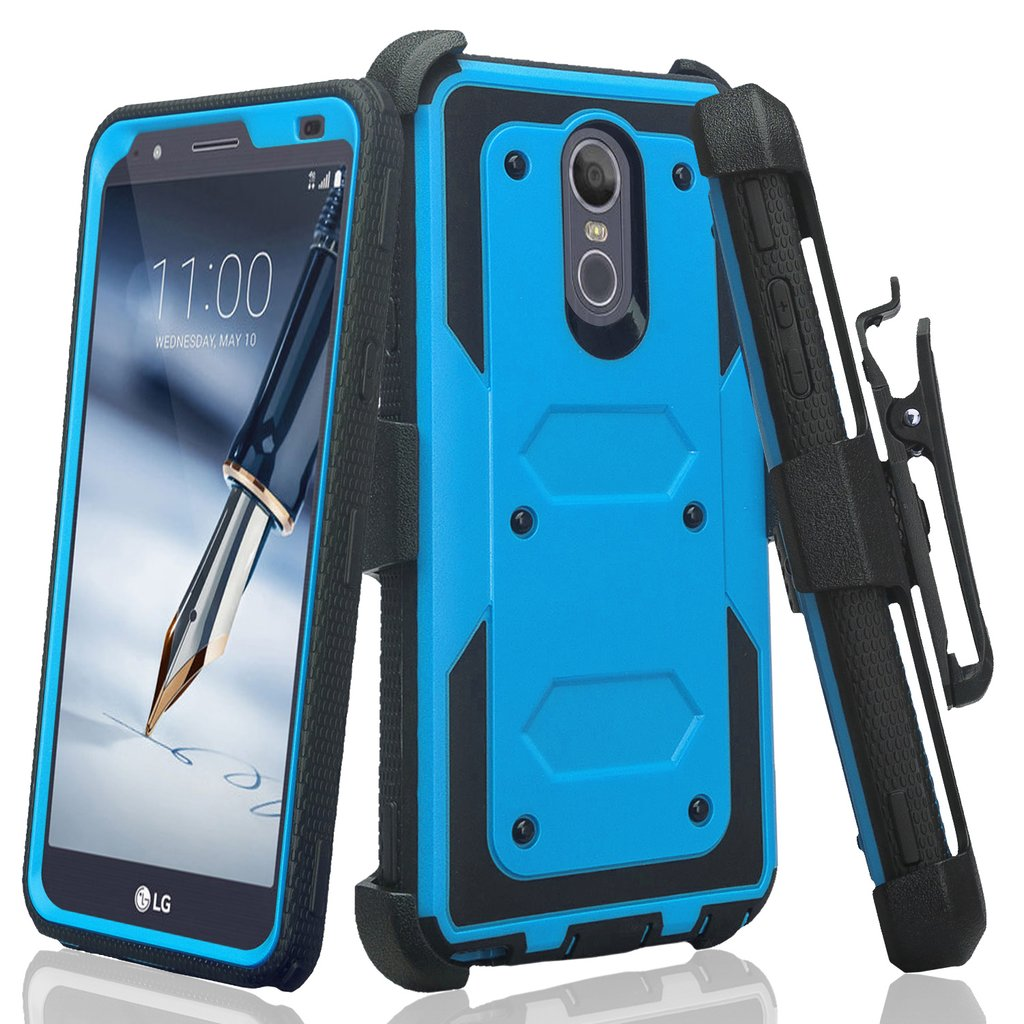 LG Stylo 4 Case, Rugged Series with Built-in [Screen Protector] Heavy Duty Full-Body Rugged Holster Armor Case [Belt Swivel Clip][Kickstand] (Blue) - image 6 de 6