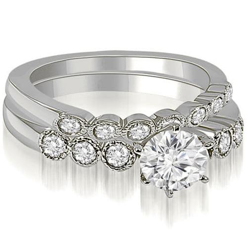 0.91 CT.TW Vintage Milgrain Round Cut Diamond Bridal Set in 14K White, Yellow Or Rose Gold
