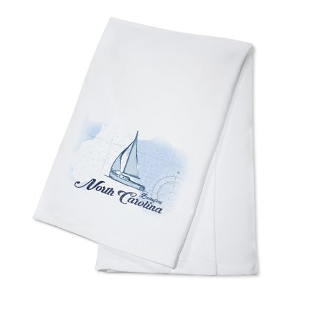 Beaufort, North Carolina - Sailboat - Blue - Coastal Icon - Lantern Press Artwork (100% Cotton Kitchen Towel) ()