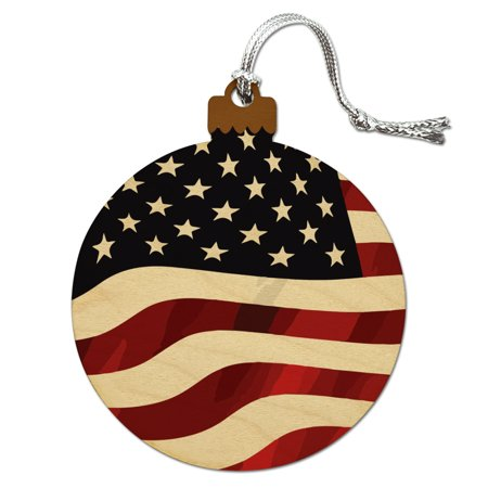 - US American Flag Stars and Stripes Waving United States USA Wood Christmas Tree Holiday Ornament