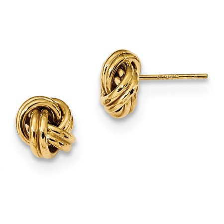 14k Yellow Gold Polished Double Love Knot Post Earrings 9 mm x 8