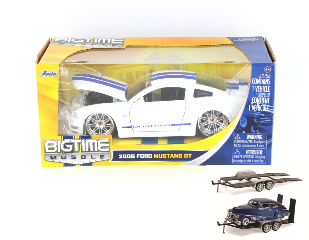 Diecast Car & Trailer Package 2006 Ford Mustang GT, White Jada Toys Bigtime Muscle 90659 1... by ModelToyCars