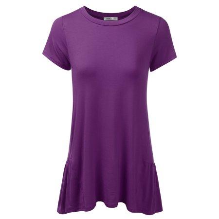 c2f57bd46c12af Doublju - Doublju Womens Round Neck Short Sleeve Ruffle Casual Tunic Dress  With Plus Size EGGPLANT L - Walmart.com