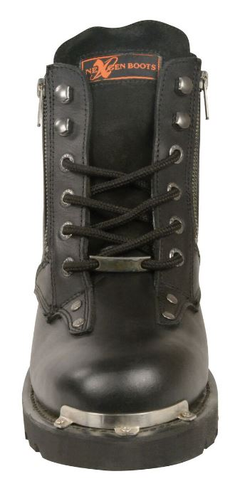 Milwaukee Mens Laced Boots w/Double Sided Zipper Entry Black-Regular