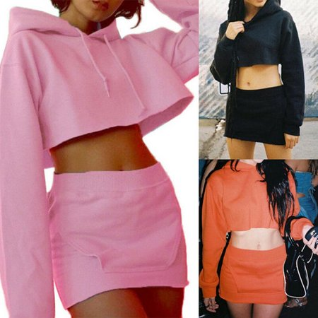 2PCS Set Women Hoodie Long Sleeve Sweatshirt Crop Tops Hooded Top+Pocket Pencil Skirt Bodycon Skirts Orange Size (Matching Crop Top And Pencil Skirt Set)