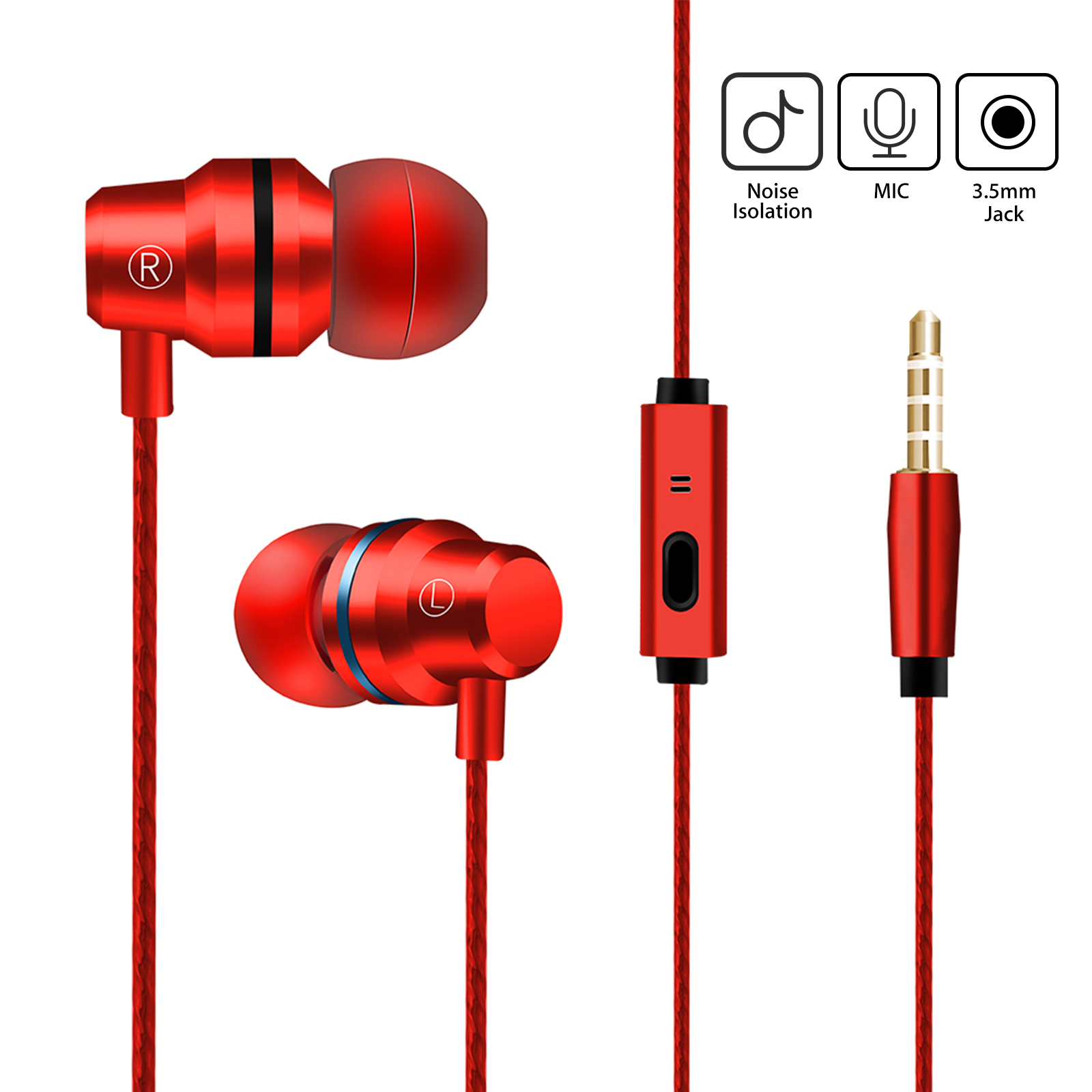 TSV Metal Stereo Headphone Bass Earphone Sport Headset Hands Free Earbuds With Mic